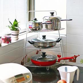 潮土厨房置物架 储物层架角架 多功能锅架 厨房收纳用品25省包邮