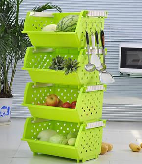 亏本促销可叠加蔬菜水果厨房置物架碗碟收纳架转角菜架四层