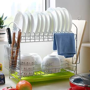 宜家沥水架碗碟架厨房双层置物架用品收纳架滴水碗架25省包邮