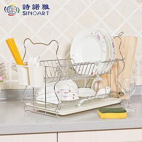 诗诺雅双层沥水篮碗碟架 滴水碗架沥水架 厨房置物架餐具收纳层架
