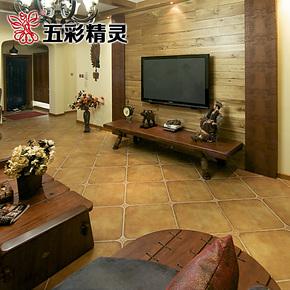 五彩精灵仿古砖美式乡村风格圆角砖 地板砖卧室客厅瓷砖 复古地砖