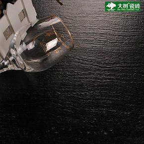 大树客厅防滑地砖 黑色哑光仿古砖600x600 卫生间酒店地板砖SMJ04