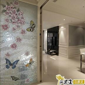 【千叶莲】玻璃冰玉马赛克剪拼花壁画 玄关餐厅瓷砖背景墙 蝶舞