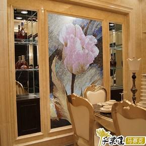 【千叶莲】玻璃冰玉马赛克剪拼花图 玄关餐厅电视背景墙瓷砖 粉香