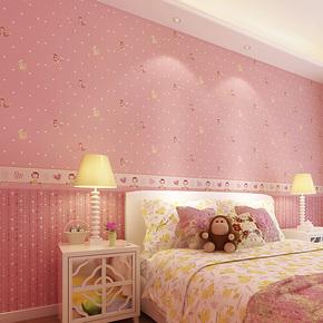旗航 超纤环保无纺布粉色壁纸 女孩可爱卡通卧室儿童房墙纸QHC-V