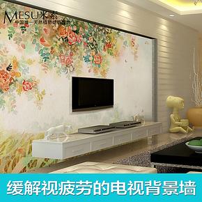 T米素大型壁画 卧室电视背景墙纸壁纸 温馨房间墙纸 特价彩绘月季