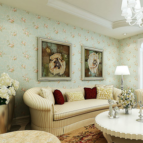 T旗航 美式壁纸田园碎花无纺布墙纸 卧室温馨qhm-h客厅背景墙壁纸