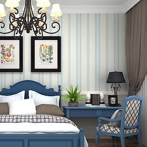品牌正品墙纸现代简约客厅卧室背景墙蓝色竖条纹壁纸11地中海