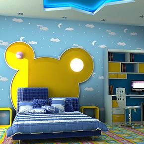 T雁归来 墙纸 卡通儿童房 男女孩房间 卧室星星月亮蓝色天空 壁纸