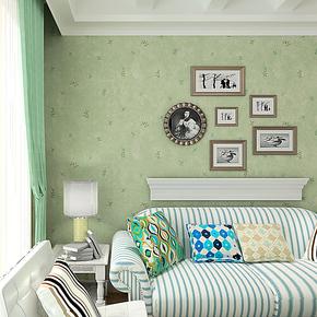 歌诗雅墙纸 卧室客厅满铺 正品田园风格自然清新壁纸38绿色小碎花