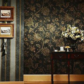 米冠墙纸 深色美式乡村壁纸复古 田园大花客厅卧室沙发背景墙壁纸