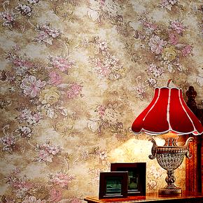 新巢 环保无纺布美式乡村复古田园大花墙纸 卧室床头客厅背景壁纸
