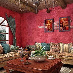 歌诗雅墙纸客厅沙发背景卧室床头时尚英伦怀旧壁纸193经典红色