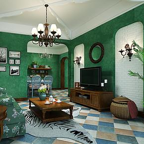 将旗无纺布壁纸 卧室客厅背景墙墨绿色环保墙纸F89025东南亚风格