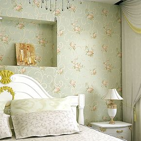 辛格墙纸 无纺布田园壁纸 卧室温馨 电视墙背景客厅复古绿色包邮