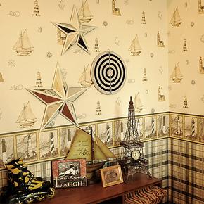 雁归来 墙纸 儿童房男孩 复古海帆船 卡通房卧室无纺布 壁纸 包邮