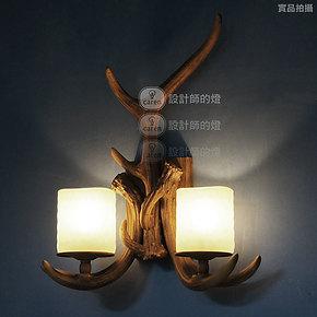 【设计师的灯】复古北欧美式乡村田园餐厅酒吧灯 双头长鹿角 壁灯