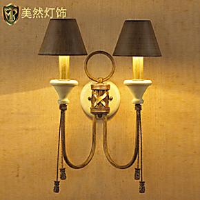 【美然】简约美式乡村客厅壁灯北欧宜家铁艺卧室书房床头灯仿古灯