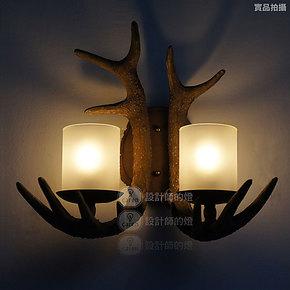 【设计师的灯】复古北欧美式乡村田园餐厅酒吧灯别墅鹿角双头壁灯