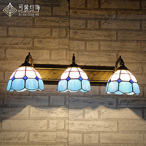 地中海三头壁灯欧式卧室床头灯现代简约卫生间镜前灯蒂凡尼灯具