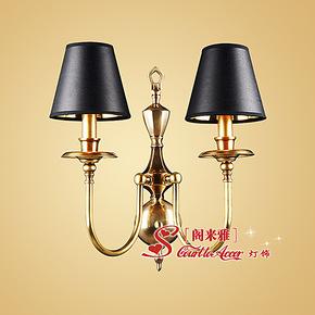 欧式卧室床头双头壁灯 美式镜前灯小客厅壁灯 简欧客厅全铜灯壁灯