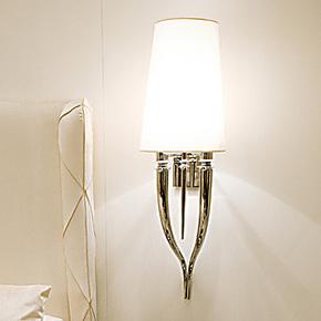 兰亭集势 创意酒店牛角布艺壁灯现代简约卧室灯客厅灯具书房灯饰