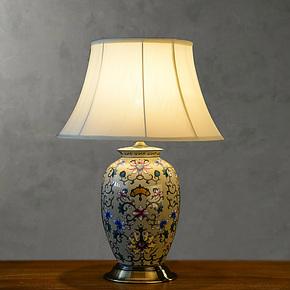 奇居良品 美式中式北欧简约现代客厅书房卧室灯具 梅斯陶瓷台灯