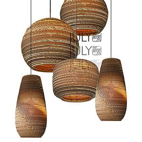JULY就来 设计师款简约宜家现代创意漩涡状瓦楞纸吊灯裸蛹吊灯