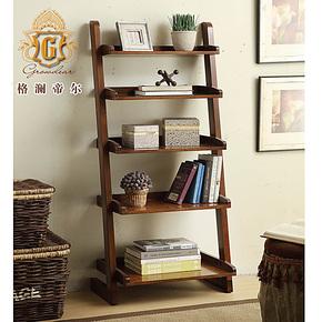 美式客厅简约家具实木创意隔板 装饰搁板置物架 五层落地展示书架