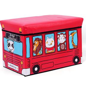 百叶红高品质PU长方形收纳凳 大号多功能储物凳子 儿童玩具收纳箱