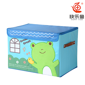 快乐鱼 牛津布收纳箱 大号 有盖 卡通日系风 收纳箱 储物箱 包邮