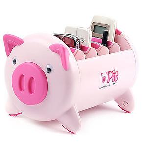 创意家居粉猪收纳盒手机桌面遥控器盒架收纳盒韩国储物盒 塑料
