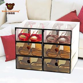 小熊妈妈加厚透明收纳盒翻盖塑料女式鞋盒一键式开门 6件套装组合