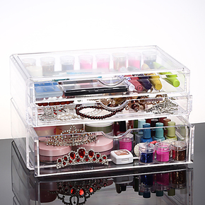 特价 亚加丽加 超大号抽屉式化妆品收纳盒 层叠组合收纳盒 收纳柜