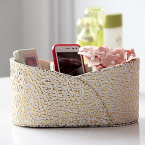 帝梵正品皮质遥控器收纳储物盒杂物整理化妆盒创意时尚可爱韩