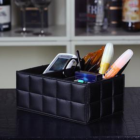 品地简约风格羊皮纹格子线长方形遥控器收纳盒文具杂物收纳盒特价