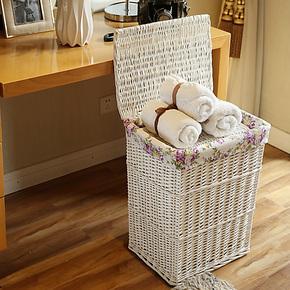 金柳家居柳编脏衣服收纳筐 收纳箱 收纳桶 有盖脏衣篮洗衣整理箱