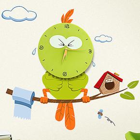 立体壁纸 可爱创意卡通挂钟 时尚DIY静音钟表 儿童房卧室客厅时钟