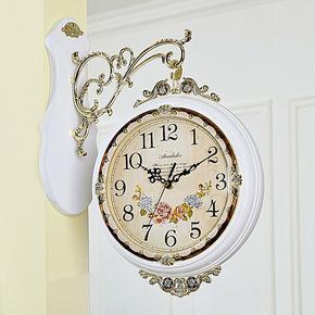 安纳贝尔两面木制钟表田园欧式双面挂钟静音家居装饰创意客厅时钟