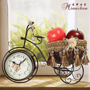 欧式复古时尚创意座钟时尚田园静音客厅时钟现代简约双面石英钟表