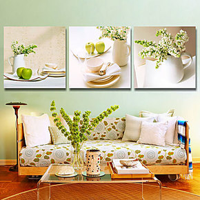 现代客厅装饰画 家饰壁画玄光餐厅无框画三联挂画墙画 水果装饰画