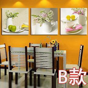 一若餐厅装饰画 餐厅无框画 厨房挂画餐厅壁画 版画三联清新水果
