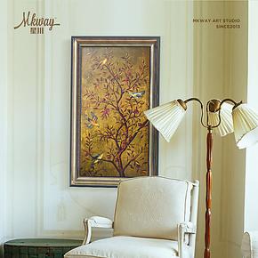 欧式高端有框装饰画客厅卧室挂画玄关画壁画竖墙面装饰吉祥树