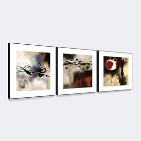 天画现代装饰画 简框画客厅玄关酒店背景墙壁画挂画抽象红与黑