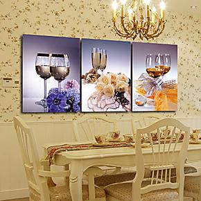 5折包邮现代装饰画餐厅无框画客厅挂画卧室墙画办公装饰鲜花美酒