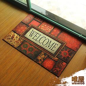 唯屋 橡胶植绒高档别墅 花朵 美式大号进门垫 地垫 户外门垫包邮