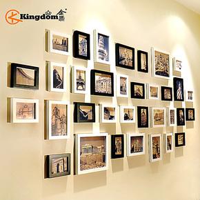 金鼎 实木超大客厅照片墙 34框创意相片墙相框组合 企业相框墙