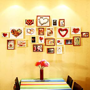 维佳23框实木照片墙欧式创意时尚大墙面相片墙组合相框墙特价包邮