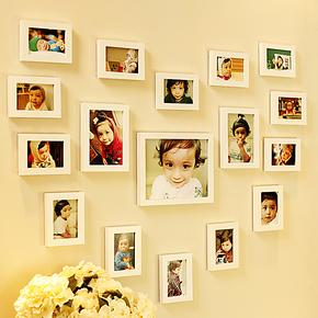 17框实木心形照片墙 欧式相片墙宝宝客厅相框墙 儿童创意相框组合