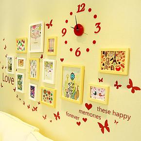 照片墙实木相片墙13框 欧式时尚相框墙相框组合创意组合现代简约